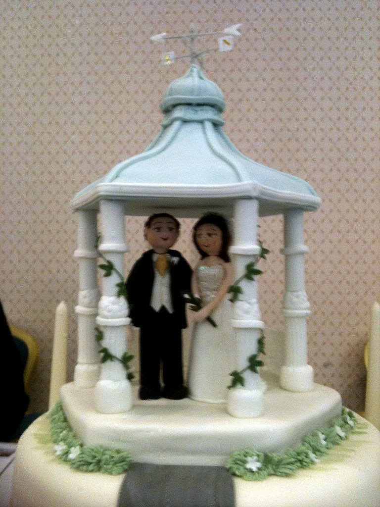 gazebo wedding cake from the inn on the lake, Lake district weddings