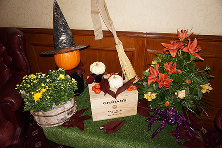 Halloween display at the Lodore Falls Hotel