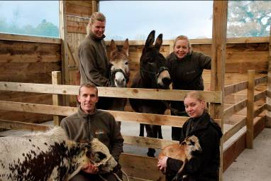 Rebecca Hvarregaard with Annie the donkey, Senior Keeper Vicky Jennings with Dooley the donkey, Richard Robinson, Park Manager with Neville the Zebu, Pernille Nowak with Earnest the Cameroon sheep.